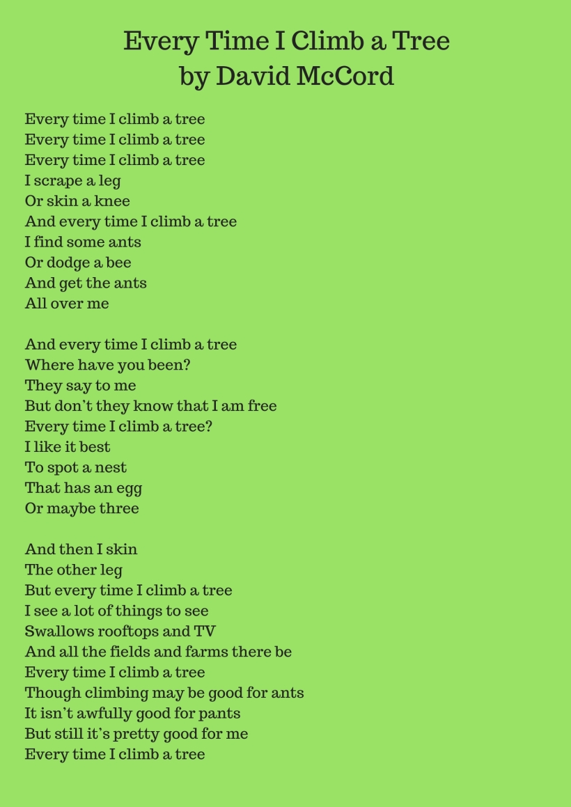 Every Time I Climb a Tree by David McCord